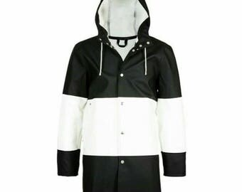 Adult PU - leather Classic man raincoat, Contrast color design.  Man's wind resist Jacket! Free shipping!!!