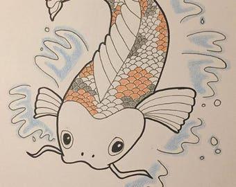 Koi Fish 12x12 Cardtock Illustration