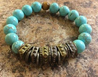 Mens turquoise gemstone bracelet