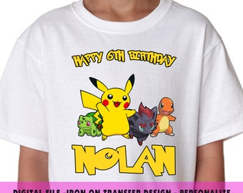 Pokemon  Iron On Transfer , Pokemon  DIY Transfer , DIY Pokemon  Boy Birthday Shirt , Pokemon  Printable , Any Name , Any Age , Digital File