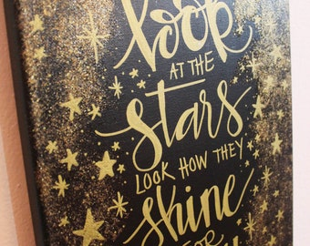 Look At The Stars Glitter Canvas