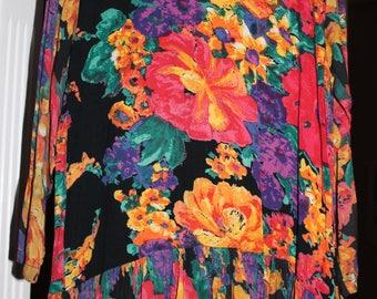 1990s bold floral print dress