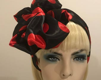 Red and black polka dot satin scarf, women's scarves, women's accessories, gifts for her