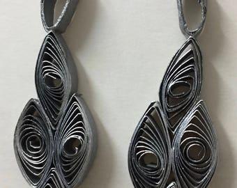 Quilled Paper Earrings: Metallic Leaves