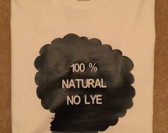 100% natural hair, black woman, silhouette, t-shirt