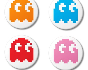PacMan Pixel Ghosts - Pin Back Button Badge, 25mm (1 inch) Retro Arcade Gaming