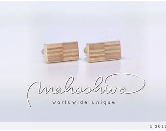 wooden cuff links wood alder maple handmade unique exclusive limited jewelry - mahoshiva k 2017-23