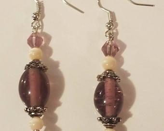 Purple glass bead earrings