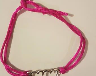 Double heart charm adjustable bracelet