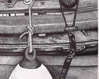 Docked Boat Pen & Ink Print