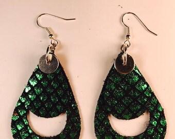 Leather earrings, St. Patrick's Day earrings, Bold earrings, Drop earrings, Green earrings, Teardrop earrings