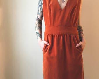Orange velvet dress made by B.H.Wragge, Harold 1960, size S