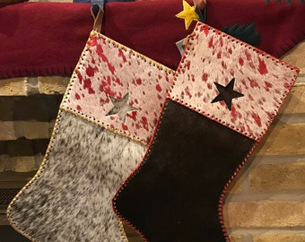 Cowhide Christmas stocking, Christmas decor, mantel decor, Christmas gift, fireplace decor, holiday decor, seasonal