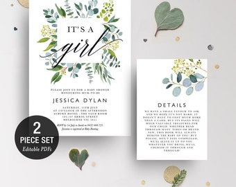INSTANT DOWNLOAD Its A Girl GreeneryShower Invitation Printable Template - BONUS Detail Card