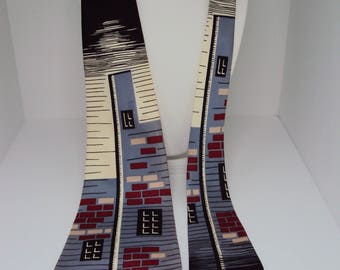 Antique 1940s Wembly Swagger Tie Gray Black Red