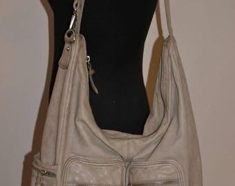 Vintage taupe leather bag