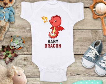 Baby Dragon cartoon Cute Baby bodysuit - cute birthday baby shower gift baby birth pregnancy announcement