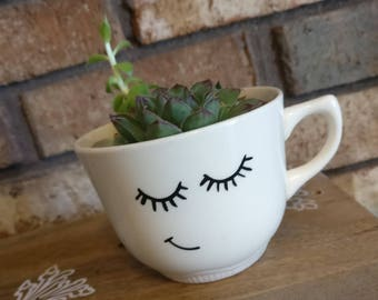 Teacup succulent planter, minimalist decor, teacup face, gardening accessory