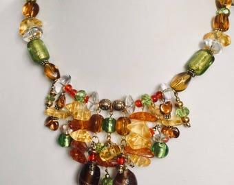 Multi-colored glass bead necklace/choker