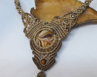 "Macrame Colar Bohemian, Murano ""Caramel"".Chic ,Hippie, Necklace, by Chrysa's hands"