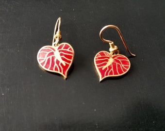Laurel Burch Antherium Flower Red Enamel Gold Tone Dangle Hook Earrings
