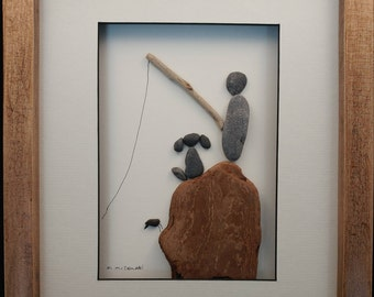 Fishing with a friend - Pebble and beach glass framed art