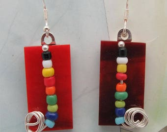 Stained Glass Earrings - Item #E063