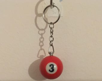 Red Snooker Ball (Three) Keychain