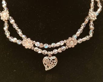 Special Occasion Double Loop Heart Necklace Set