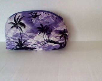 Purple Palms Round Top Zipper Pouch
