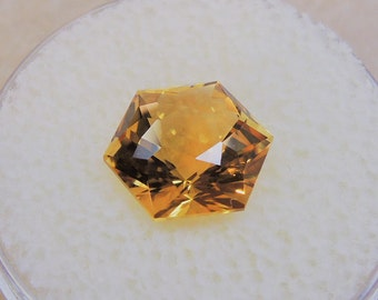 The Brazil citrine, yellow gold, fancy, hexagonal, 3, 68cts, 9.5 mm size.