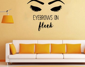 Wall Decal Window Sticker Beauty Salon Woman Face Eyelashes Lashes Eyebrows Brows t9