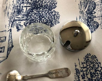 Silver mustard spoon with cut glass pot