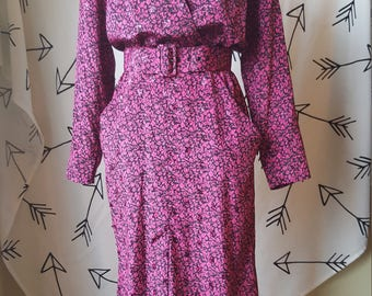 Dawn Joy Fashions Magenta 1980s Dress
