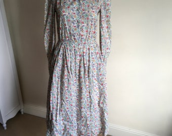 Vintage 80s Liberty-esque Style and Ditsy Floral Print Midi Dress