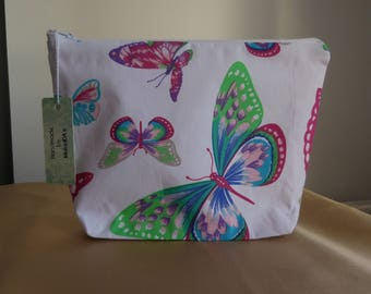 handmade make up bag 100% cotton butterfly project bag knitting bag