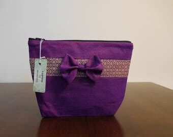 Womens gift luxury unique Thai silk handmade make up bag with a nice bow project bag knitting bag