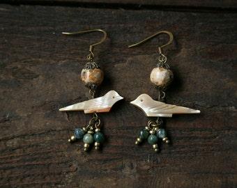 Bird Earrings, Vintage Earrings, Beaded Earrings, Boho Earrings, Hippie Earrings, Drop Earrings, Dangle Earrings
