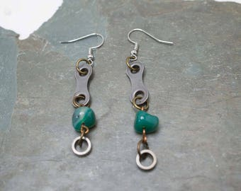 Bicycle Chain Link & Roller Green Crystal Earrings