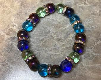 Round glass 10mm bead stretch bracelet