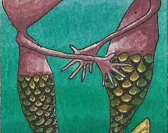 ACEO. Artist Trading card. Original artwork. 'Encounter under the sea'