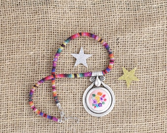 Cross stitch necklace, Pink and brown cross stitch pendant, Embroidered jewelry, Cross stitch jewelry, Textile jewelry, Geometric necklace