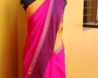 Indian Deep pink Cotton Silk Saree ( Free Shipping around the World)