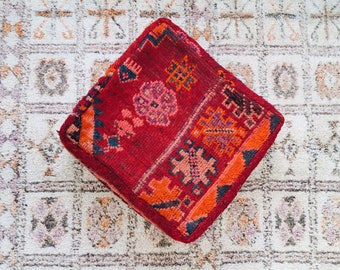 Ruby Eclectic Vintage Moroccan Floor Cushion Pouf Sofa Cover Boujaad Kilim
