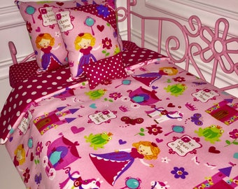 "18"" Doll Bedding Set/American Girl Bedding/4pc Doll Bedding Set/Princess"