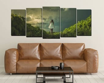 Nature Walk Canvas Wall Art, Woman Green Plants Clouds, Large 5 Panel Canvas Print, Big Sky