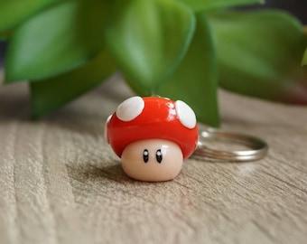 Super Mario Mushroom as key fob-red from Fimo-polymer clay-lucky mushroom-fly mushroom