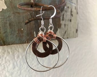 Natural Copper and Silver Wire Wrapped Earrings
