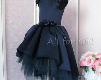 Navy Flower Girl Dress, Junior Bridesmaids, Navy Satin dress, Tutu Dress, Tulle Dress Toddler Dress Elegant Dress, Dress With Train for Girl