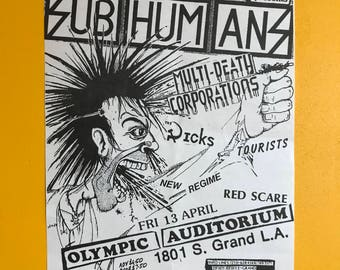 SUBHUMANS original flyer 1984